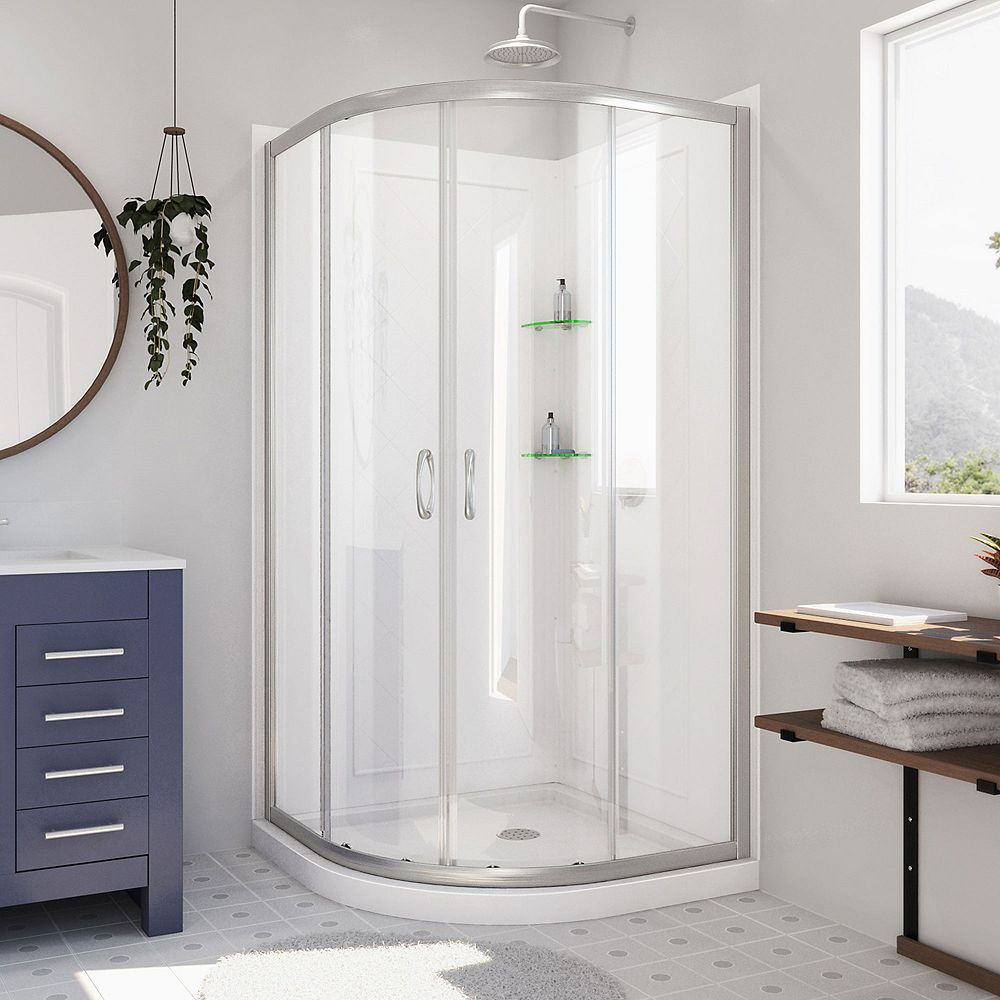 DreamLine Prime 38 inch x 76 3/4 inch Sliding Shower Enclosure in Brushed Nickel, Base and Backwalls