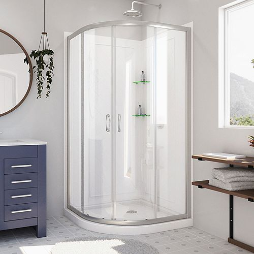 Prime 38 inch x 76 3/4 inch Sliding Shower Enclosure in Brushed Nickel, Base and Backwalls