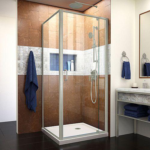 DreamLine Flex 36 inch D x 36 inch W x 74 3/4 inch H Pivot Shower Enclosure, Biscuit Base