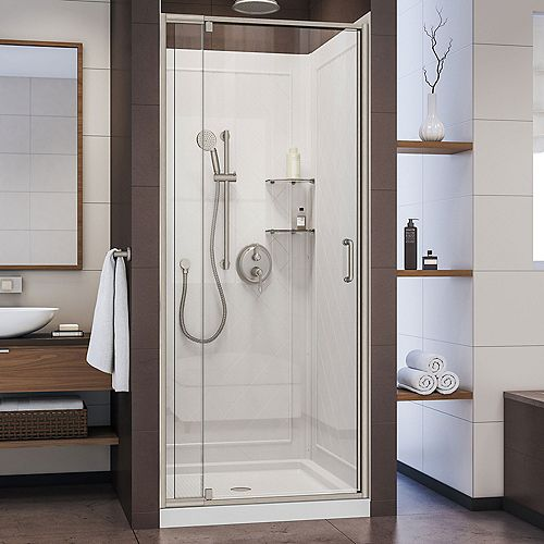 Flex 32 inch D x 32 inch W Shower Door in Brushed Nickel with White Base and Backwalls