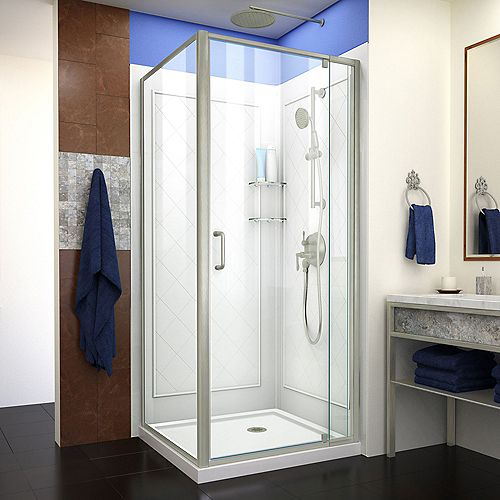 Flex 32 inch D x 32 inch W Shower Enclosure in Brushed Nickel with White Base and Backwalls