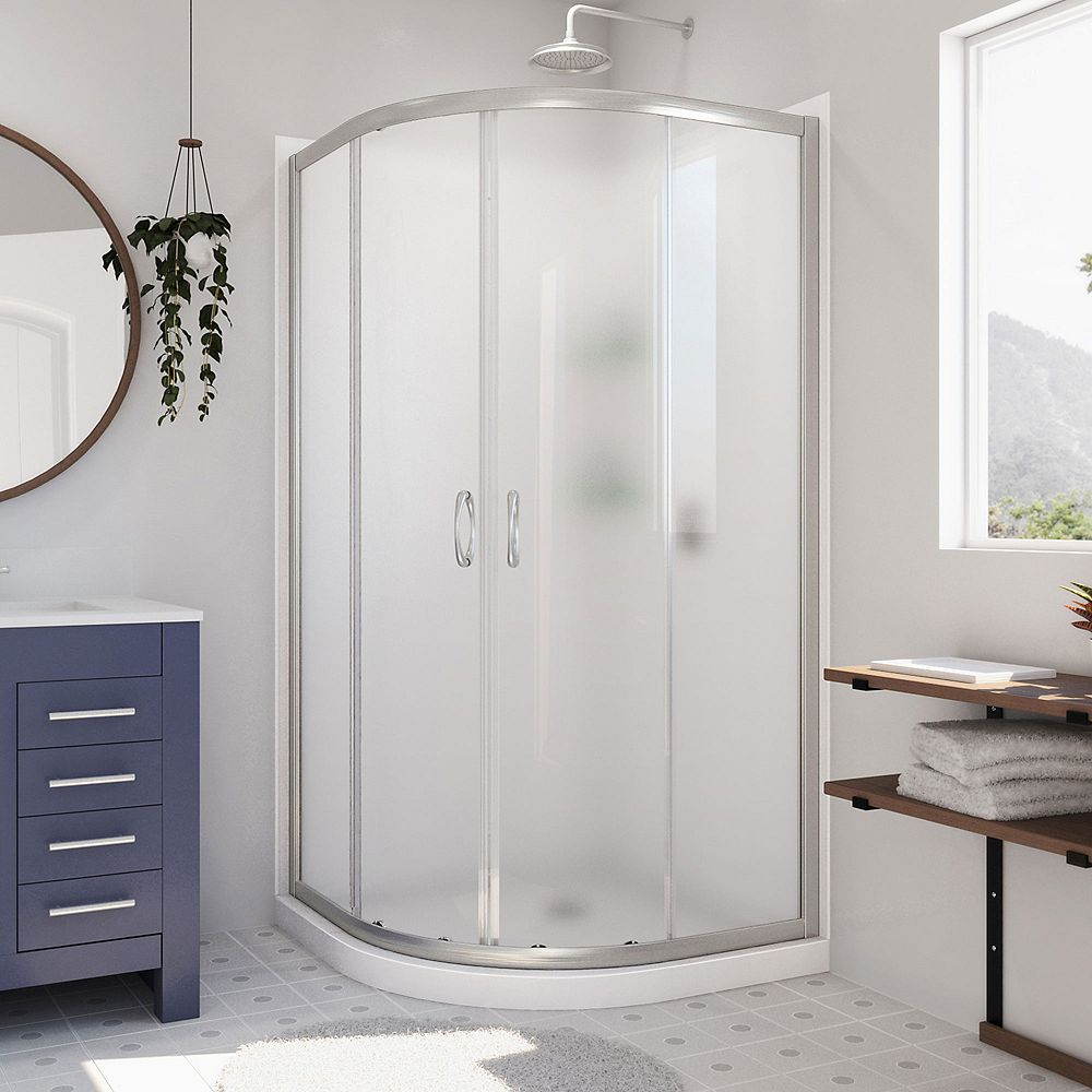 DreamLine Prime 36 inch x 76 3/4 inch Frosted Glass Shower Enclosure in Brushed Nickel, Base, Backwall
