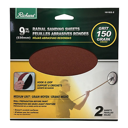 9 inch Round Drywall Sanding Sheet, Velcro Backing, Grit 150 (Pack 2)