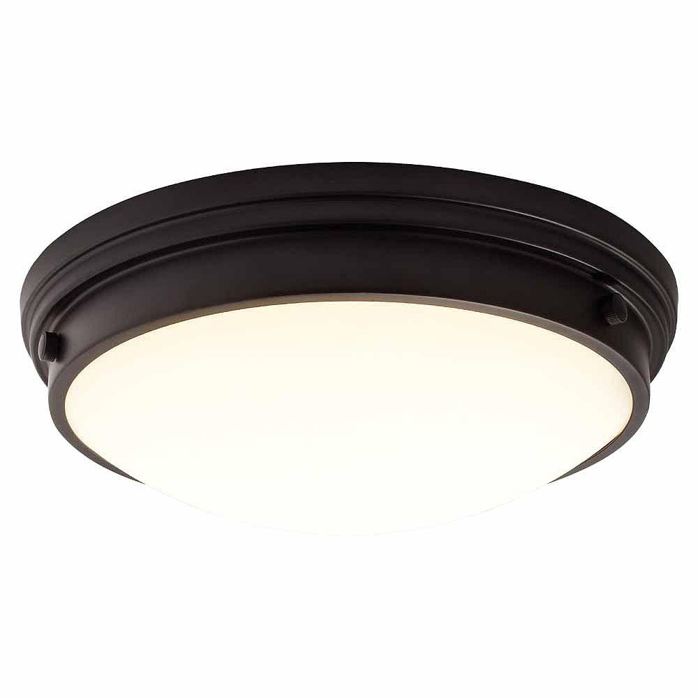 12 inch LED Flush Mount with Glass, Black Finish