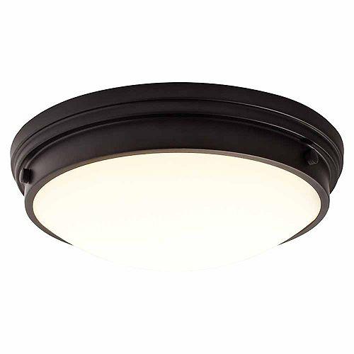 13 inch LED Flush Mount with Glass, Black Finish