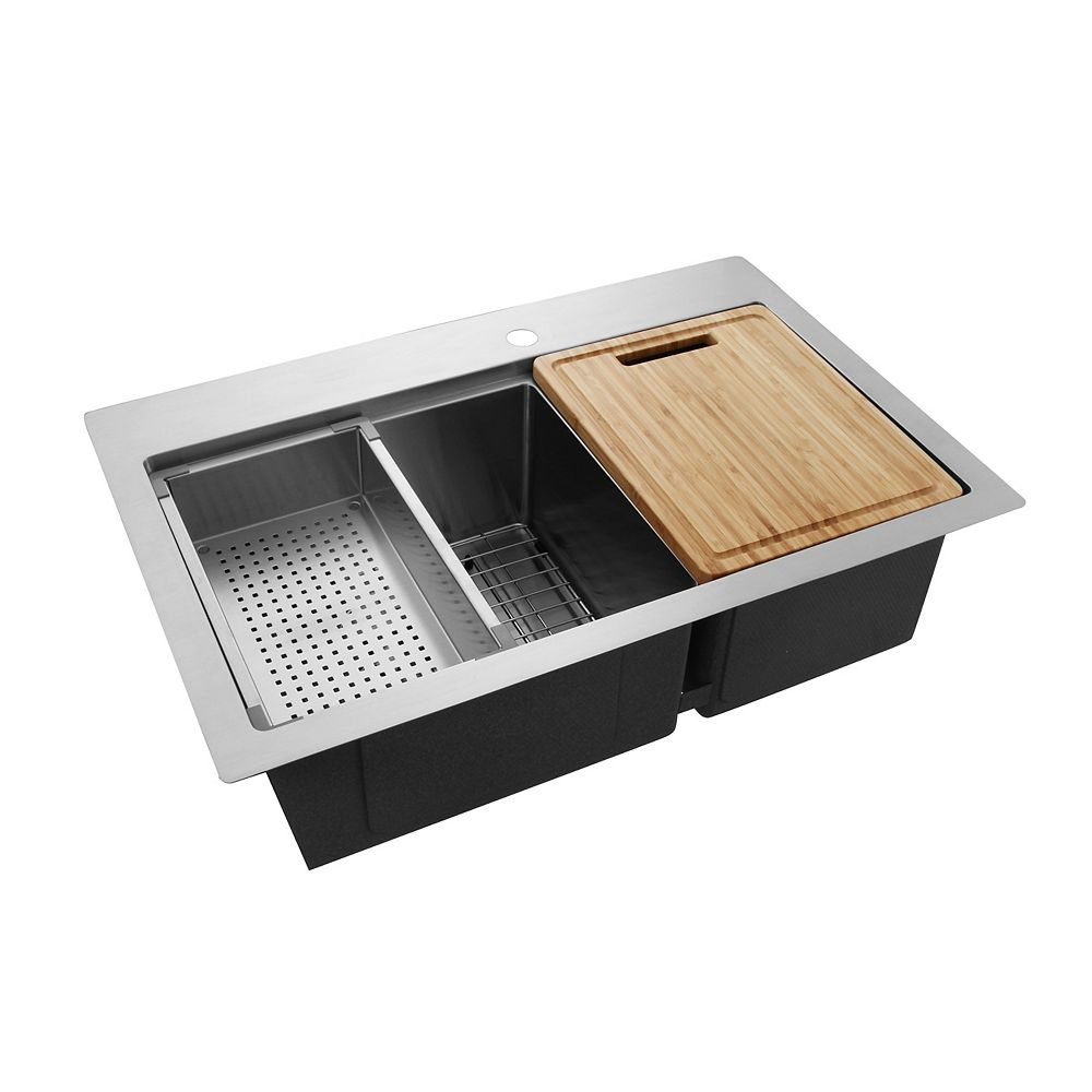 Glacier Bay 31.3-inch Double Bowl 18-Gauge Stainless Steel Kitchen Sink