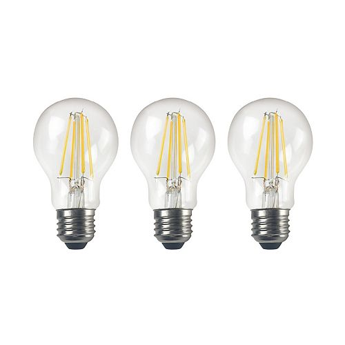 60W Daylight ECS A19 Clear Dimmable Light Bulb (3-Pack)