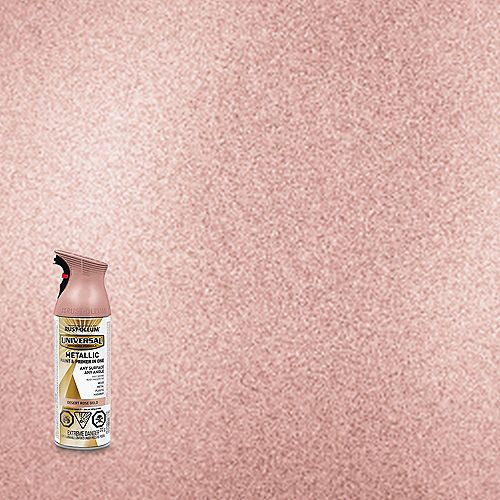 Rust-Oleum Universal Metallic Spray Paint And Primer in One in Desert Rose Gold, 340 G Aerosol
