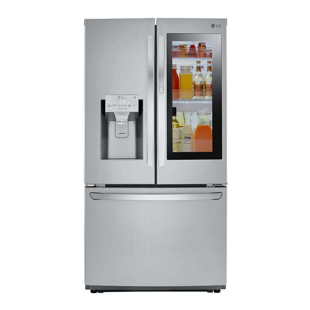 LG Electronics Réfrigérateur à porte française de 36 pouces de largeur et 22 pieds cubes avec InstaView Door-in-Door® en acier inoxydable résistant aux taches, contre-profondeur - ENERGY STAR