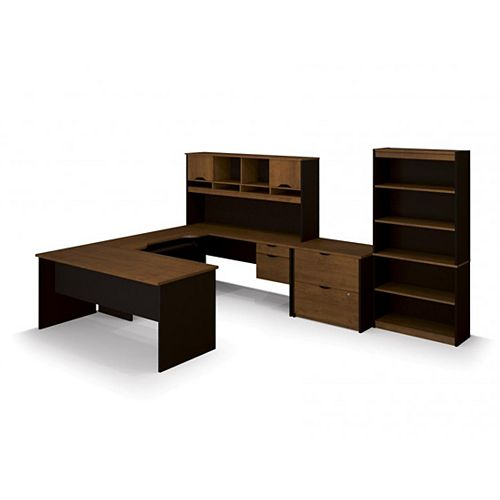 Innova U-shaped desk with accessories in Tuscany Brown & Black