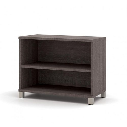 Bestar Pro-Linea 2-shelf bookcase in Bark Gray