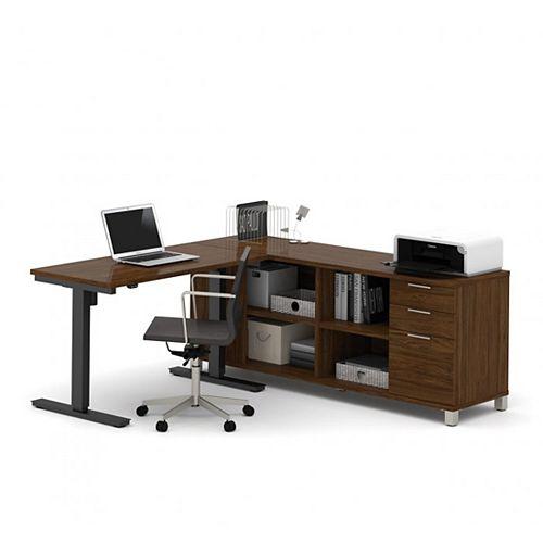 Pro-Linea Height Adjustable L-Desk in Oak Barrel
