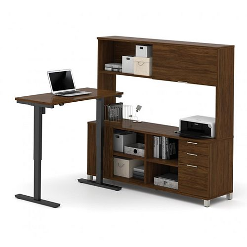 Pro-Linea Height Adjustable L-Desk with Hutch in Oak Barrel