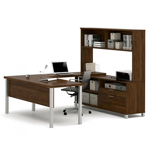 Pro-Linea U-Desk with hutch in Oak Barrel