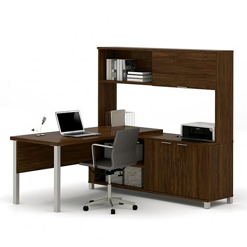 Pro-Linea L-Desk with hutch including doors in Oak Barrel