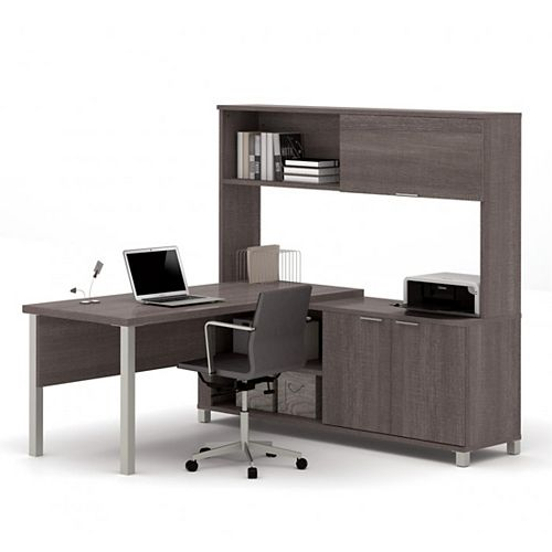 Pro-Linea L-Desk with hutch including doors in Bark Gray