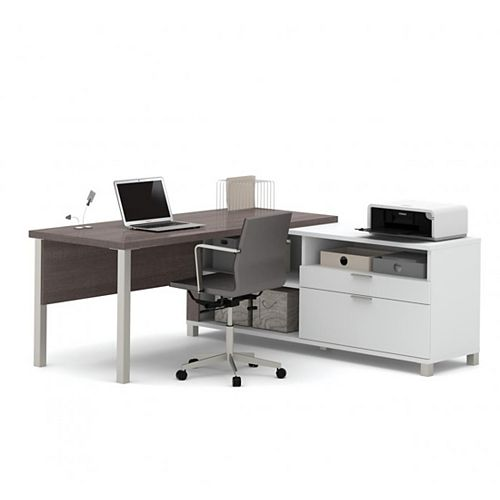 Bestar Pro-Linea L-Desk with drawers in White & Bark Gray