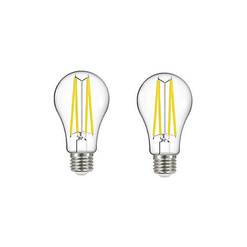 100W Equivalent Soft White (2700K) A19 Clear Filament LED Light Bulb (2-Pack)