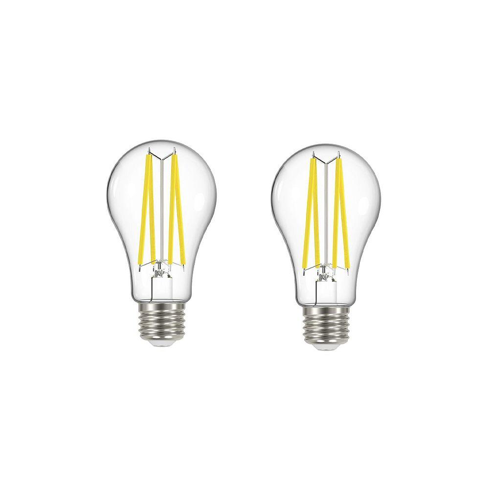 Ecosmart Ampoule DEL à filament transparent A19, équivalence de 100 W, 2 700 K, blanc doux, ens. de 2