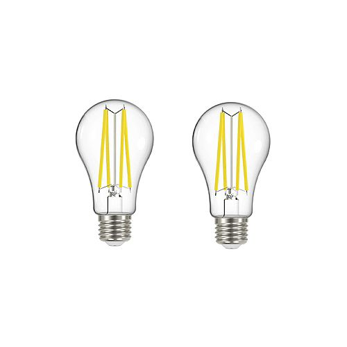100W Equivalent Soft White (2700K) A19 Clear Filament LED Light Bulb (2-Pack)