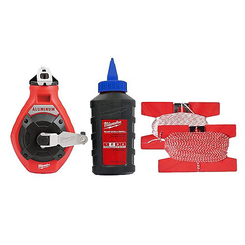 Milwaukee Tool 100 ft. Aluminum Chalk Reel Kit with Blue Chalk and Bonus Line