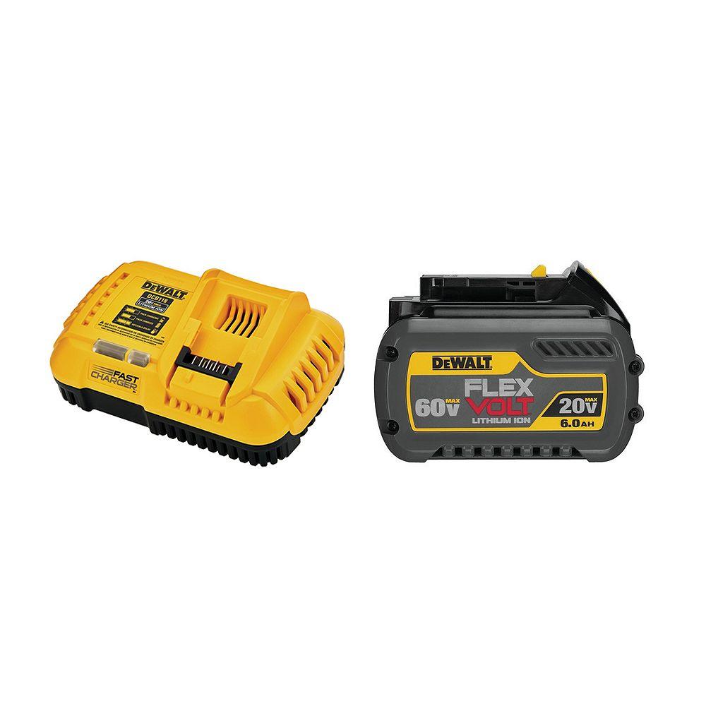 DEWALT FLEXVOLT 20V/60V MAX 6.0Ah Batterie Lithium-Ion avec chargeur rapide refroidi par ventilateur