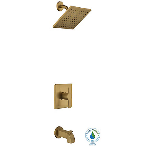 Robinet pour baignoire et douche moderne à 1 poignée et douchette, or mat