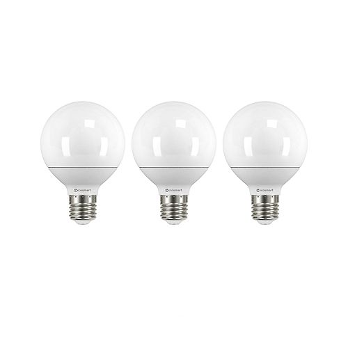 40W Equivalent Soft White (2700K) G25 Non-Dimmable LED Light Bulb (3-Pack)