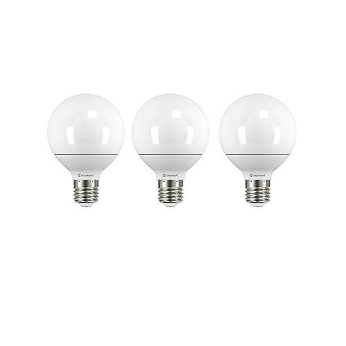 60W Equivalent Soft White (5000K) G25 LED Light Bulb (3-Pack)