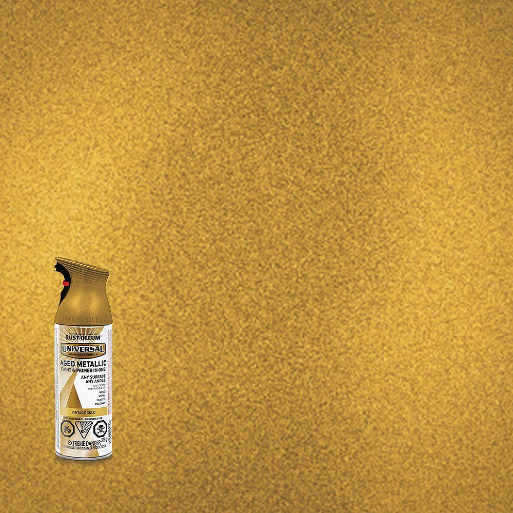 Rust-Oleum Universal Metallic Spray Paint And Primer in One in Vintage Gold, 340 G Aerosol