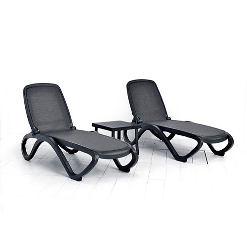Omega Chaise Lounge (Set of 2) -(Anthracite/Trama Anthracite Fabric) with Rodi Side Table