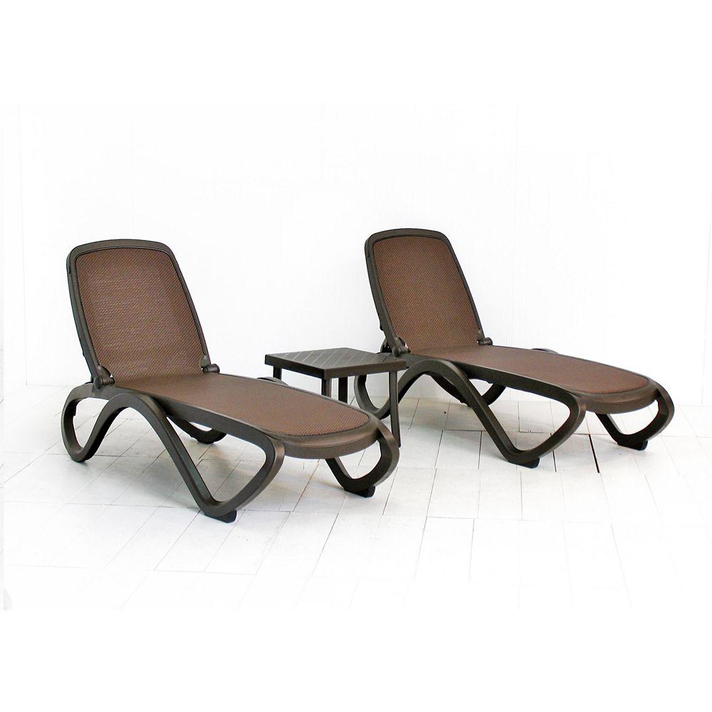 Nardi Omega Chaise Lounge (Set of 2) - (Caffe/Trama Coffee Fabric) with Rodi Side Table