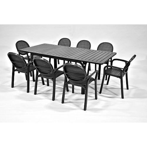 Alloro/Gardenia 9-Piece Patio Dining Set in Anthracite