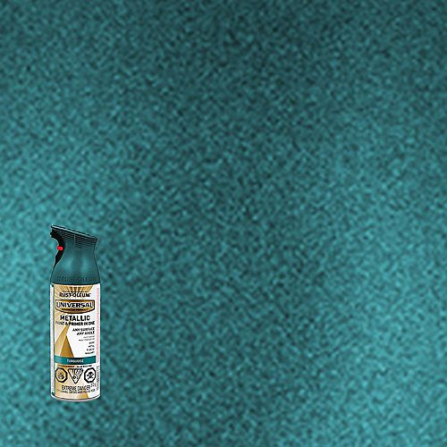 Rust-Oleum Universal Metallic Spray Paint And Primer in One in Turquoise, 340 G Aerosol