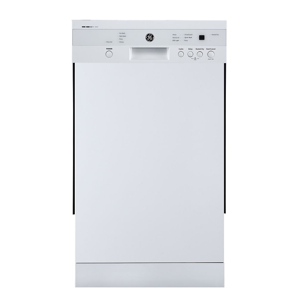 GE 18-inch Front Control Built-In Dishwasher in White with Stainless Steel Tub