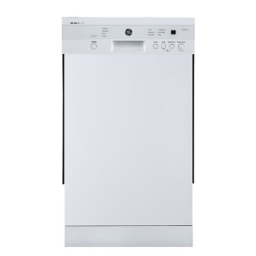 18-inch Front Control Built-In Dishwasher in White with Stainless Steel Tub