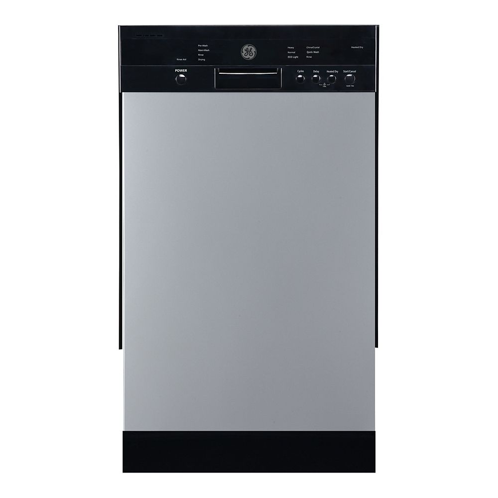 GE 18-inch Front Control Built-In Dishwasher in Stainless Steel with Stainless Steel Tub