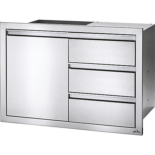 36 inch X 24 inch Single Door & Triple Drawer Combo