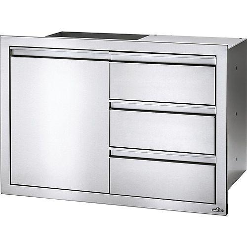 Ensemble porte simple et trois tiroirs, 36 po x 24 po