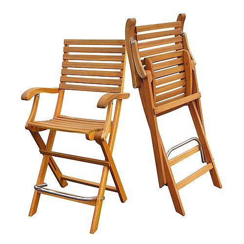 Casino Bar Chair (2-Pack), Golden Teak