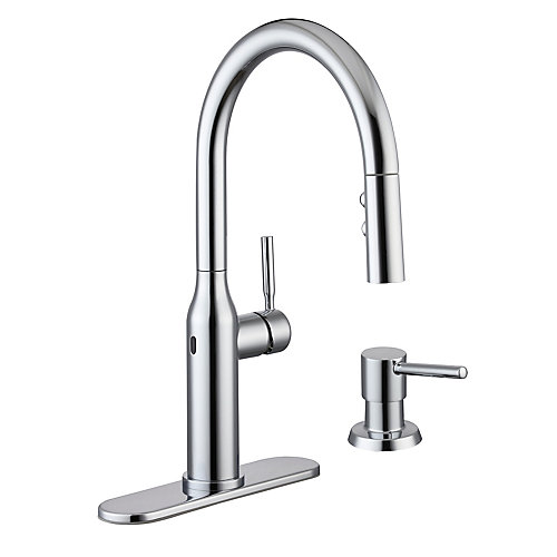Upson Single-Handle Touchless Pull-Down Sprayer Kitchen Faucet with Soap Dispenser in Chrome