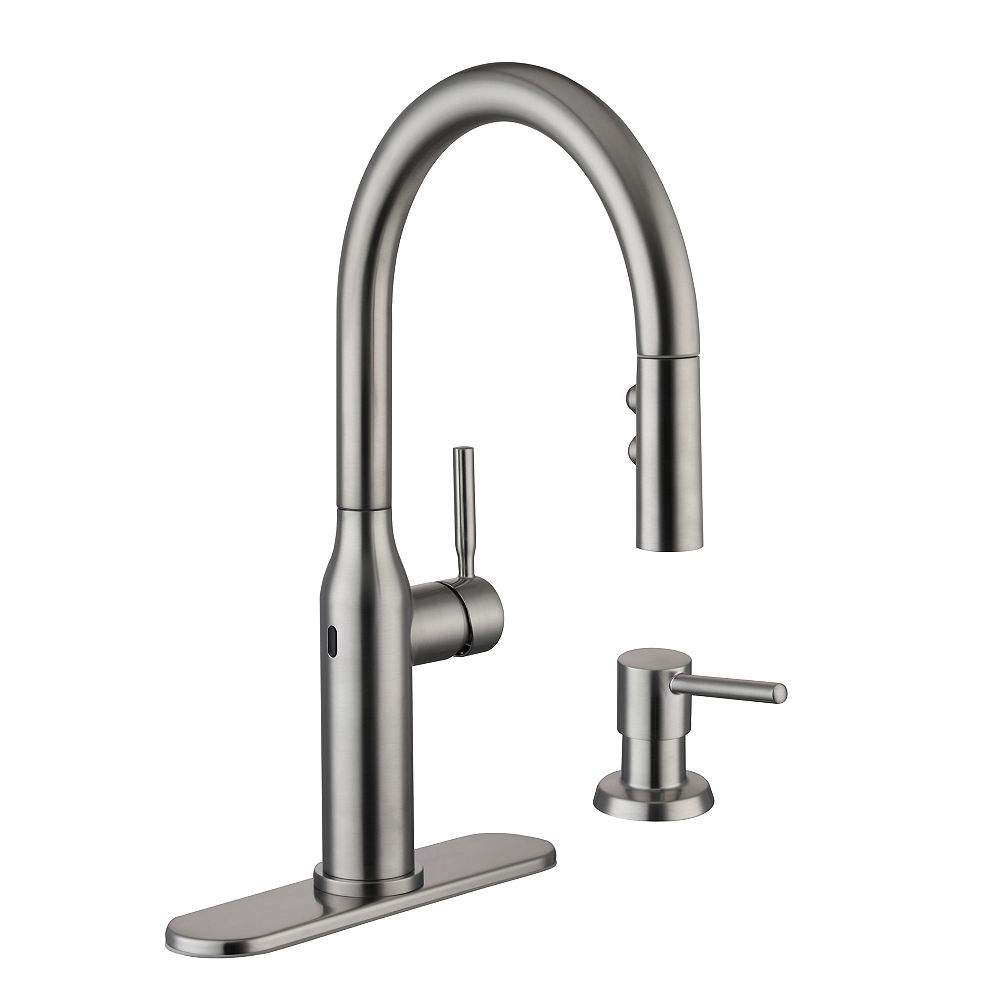 Glacier Bay Upson Single-Handle Touchless Pull-Down Sprayer Kitchen Faucet with Soap Dispenser in Stainless Steel