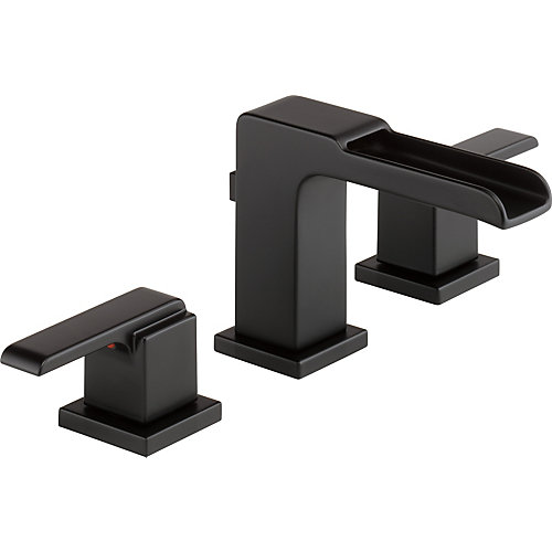Ara Two Handle Widespread Lavatory Faucet with Channel Spout, Matte Black
