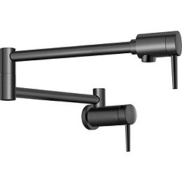 Contemporary Wall Mount Pot Filler Faucet with Lever Handle in Matte Black