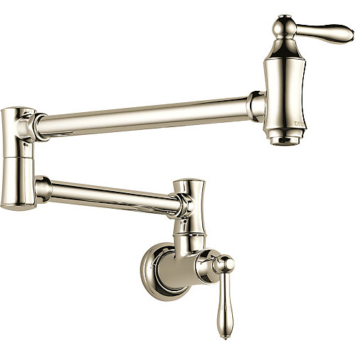 Traditional Wall Mount Pot Filler Faucet in Polished Nickel