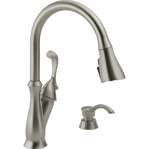 Arabella Single Handle Pull-Down Kitchen Faucet with Soap Dispenser and ShieldSpray, Stainless Steel
