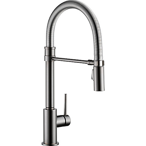 Trinsic Single Handle Pull-down Kitchen Faucet With Spring Spout, Black Stainless