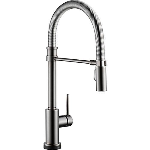Trinsic Single Handle Pull-down Kitchen Faucet With Spring Spout With Touch2O, Black Stainless