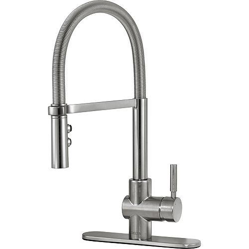 Struct Single Handle Pull-Down Kitchen Faucet with Spring Spout, Arctic Stainless