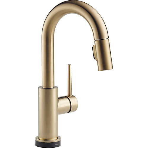 Trinsic Single Handle Pull-Down Bar/Prep Faucet Featuring Touch2O Technology, Champagne Bronze